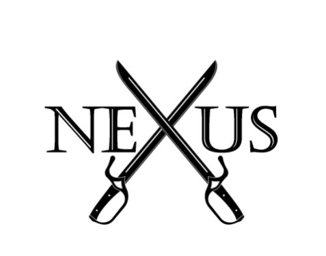 "Black and white nexus logo with crossed swords instead of an ""x"""