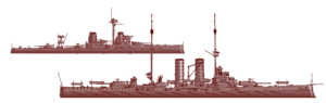 Two WW1 Battleships in red