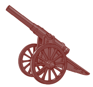 WW1 Artillery Cannon From Side in Red