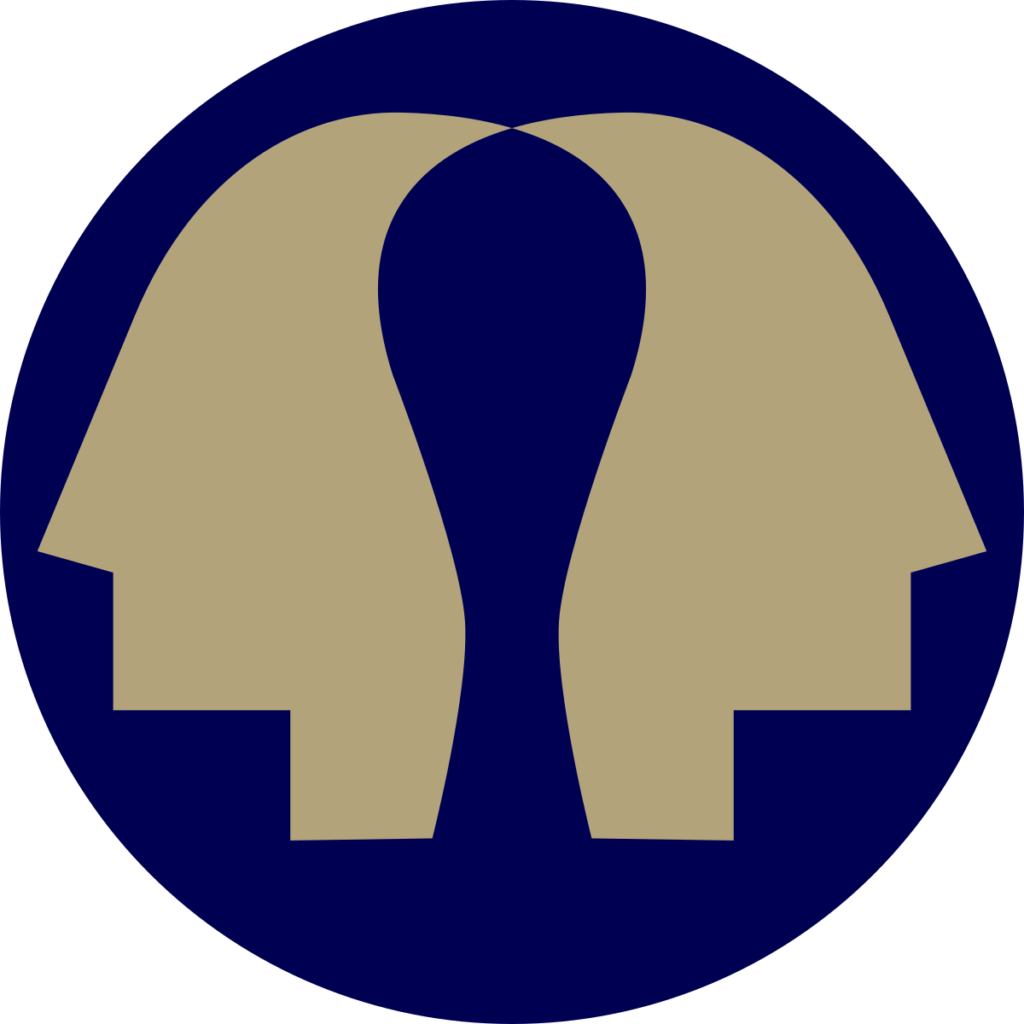 virtual diplomacy league logo, two gold faces looking away from each other on a circular blue background