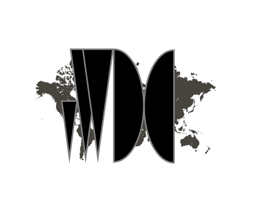 Virtual World Diplomacy Classic Logo, world map in grey overlaid with black vWDC initials.