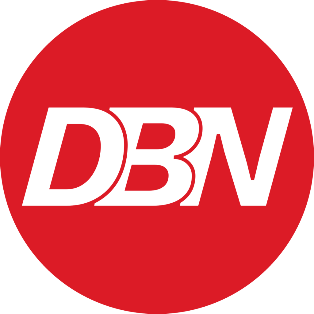 Diplomacy Broadcast Logo red circle with white DBN letters centered in the circle